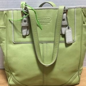 COACH HAMPTON NORTH/SOUTH LEATHER SATCHEL